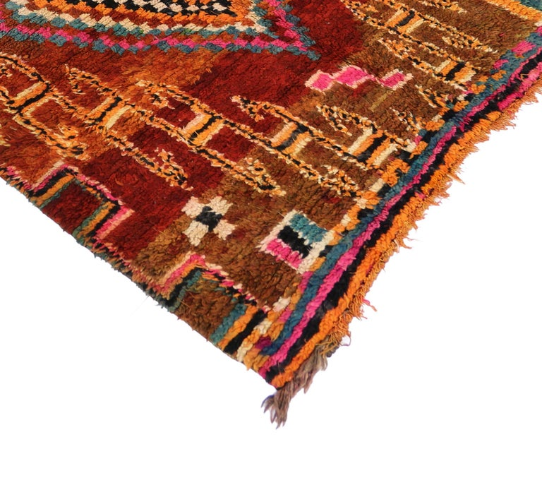 Vintage Berber Moroccan Boujad Rug with Tribal Style In Good Condition For Sale In Dallas, TX