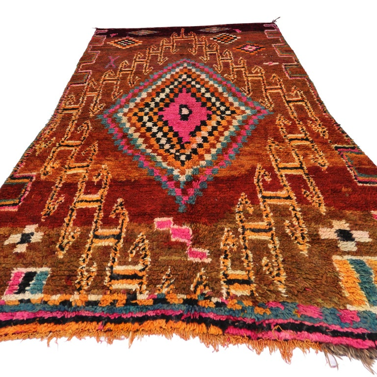 20th Century Vintage Berber Moroccan Boujad Rug with Tribal Style For Sale
