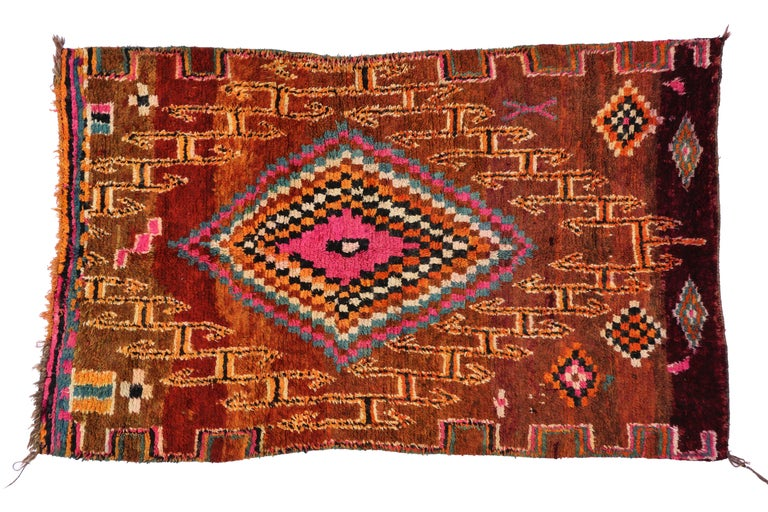 Wool Vintage Berber Moroccan Boujad Rug with Tribal Style For Sale