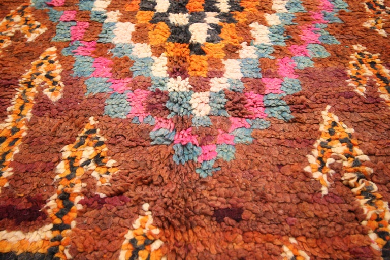 Vintage Berber Moroccan Boujad Rug with Tribal Style For Sale 3