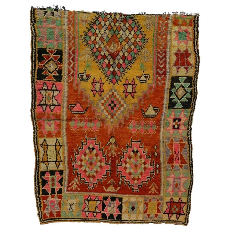 Vintage Berber Moroccan Rug With Tribal Style For Sale At