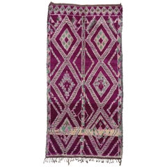 Vintage Berber Moroccan Rug with Tribal Style, Magenta Purple Beni Mguild Rug