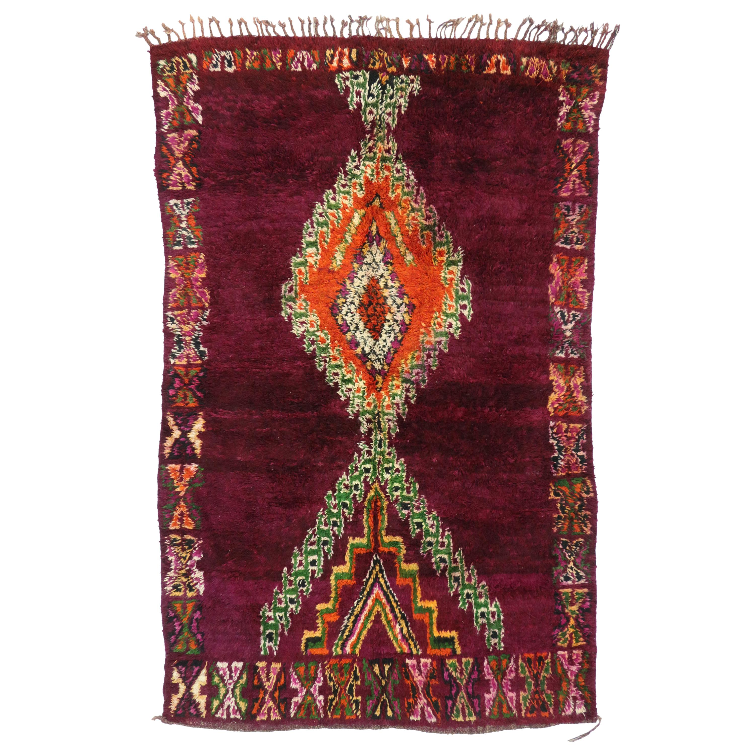 Vintage Berber Moroccan Boujad Rug with Tribal Style and Memphis Vibes