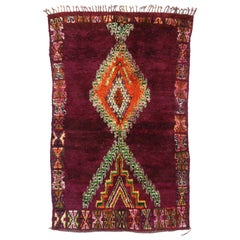 Vintage Berber Moroccan Boujad Rug with Tribal Style, Moroccan Berber Carpet