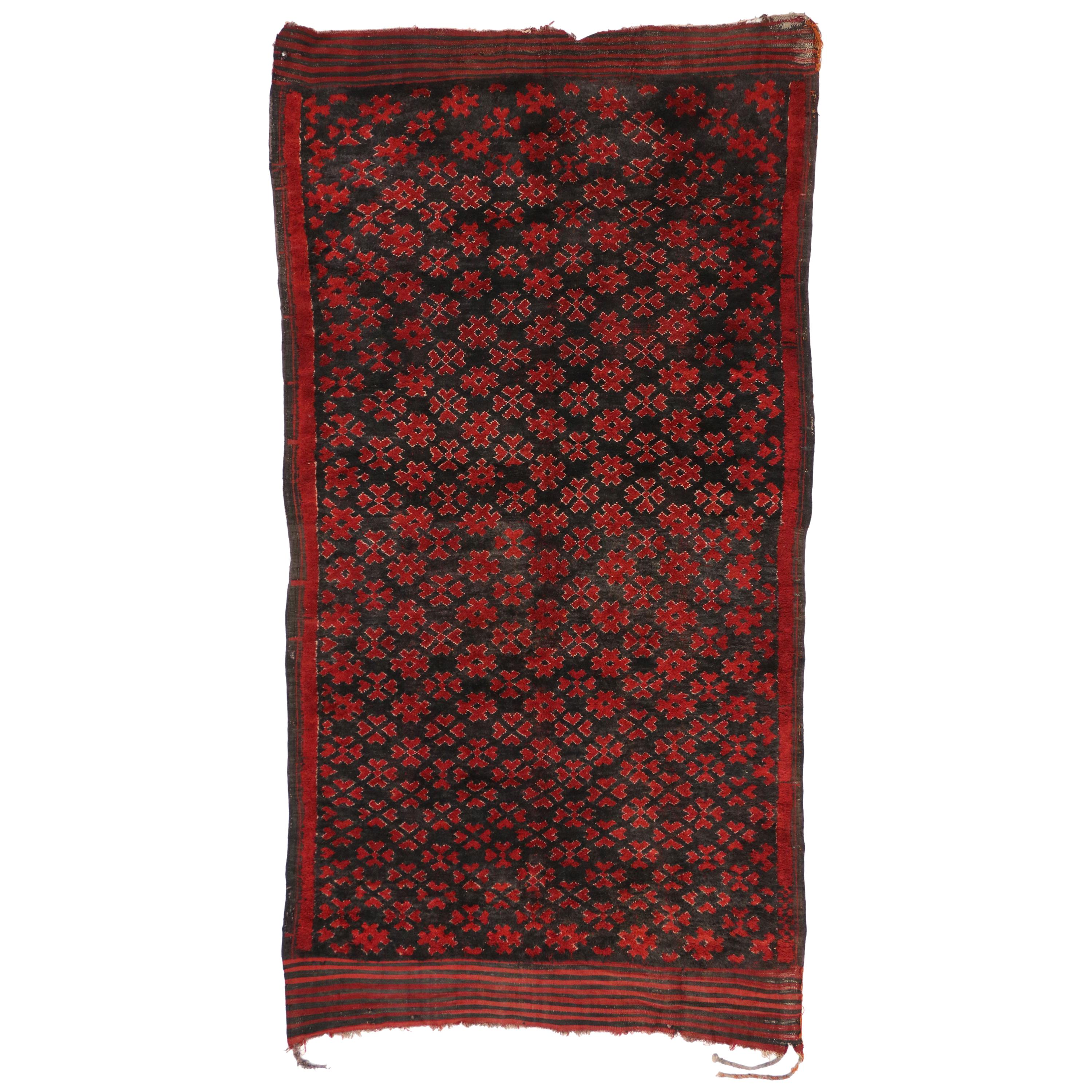 Vintage Berber Moroccan Rug with Tribal Mid-Century Modern Style