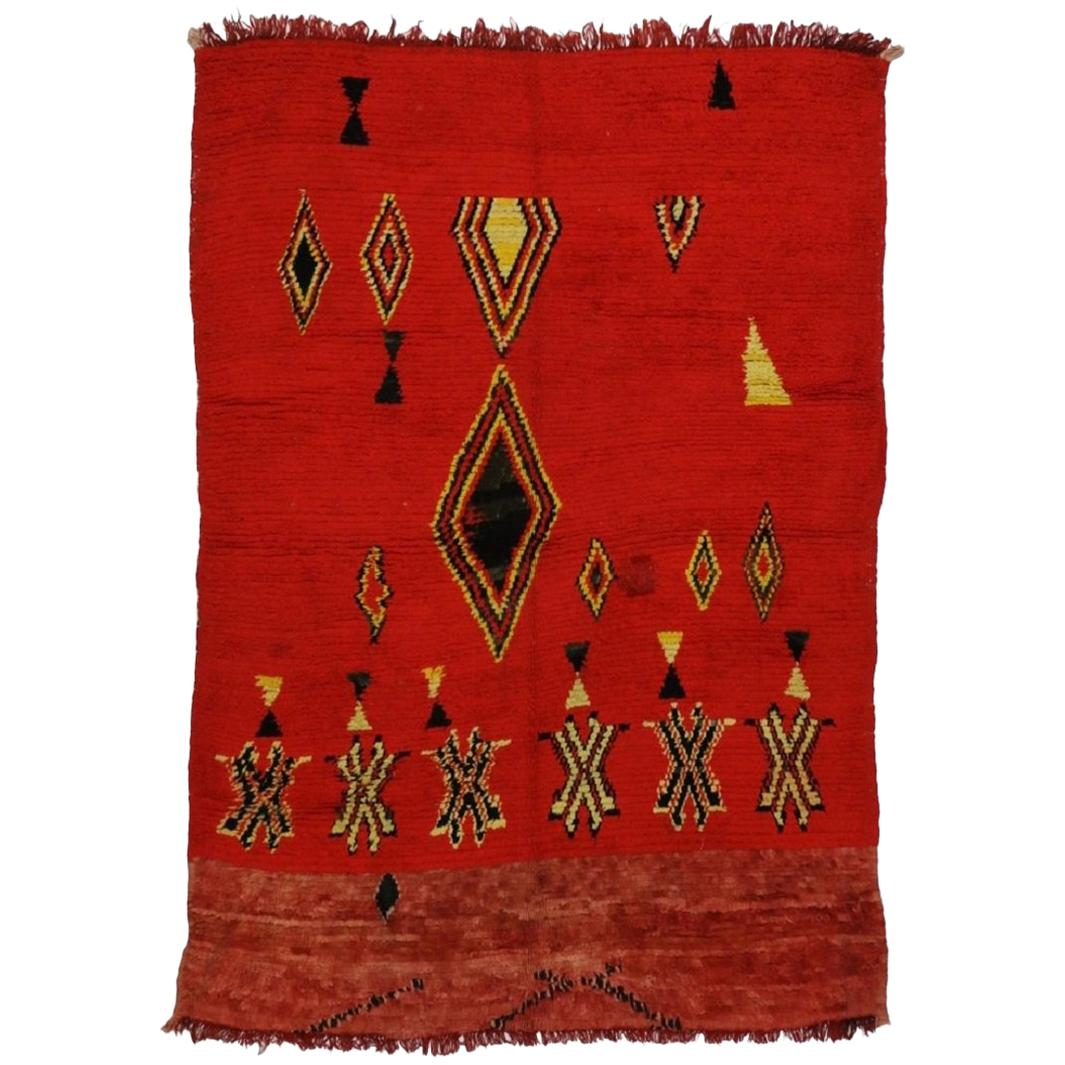 Vintage Berber Moroccan Rug with Tribal Style, Red Moroccan Rug