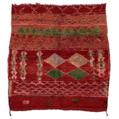 Vintage Berber Moroccan Rug with Tribal Style, Red Shaggy Square Rug