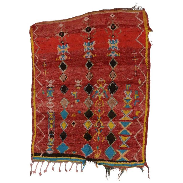 Vintage Berber Moroccan Rug With Tribal Style, Vintage