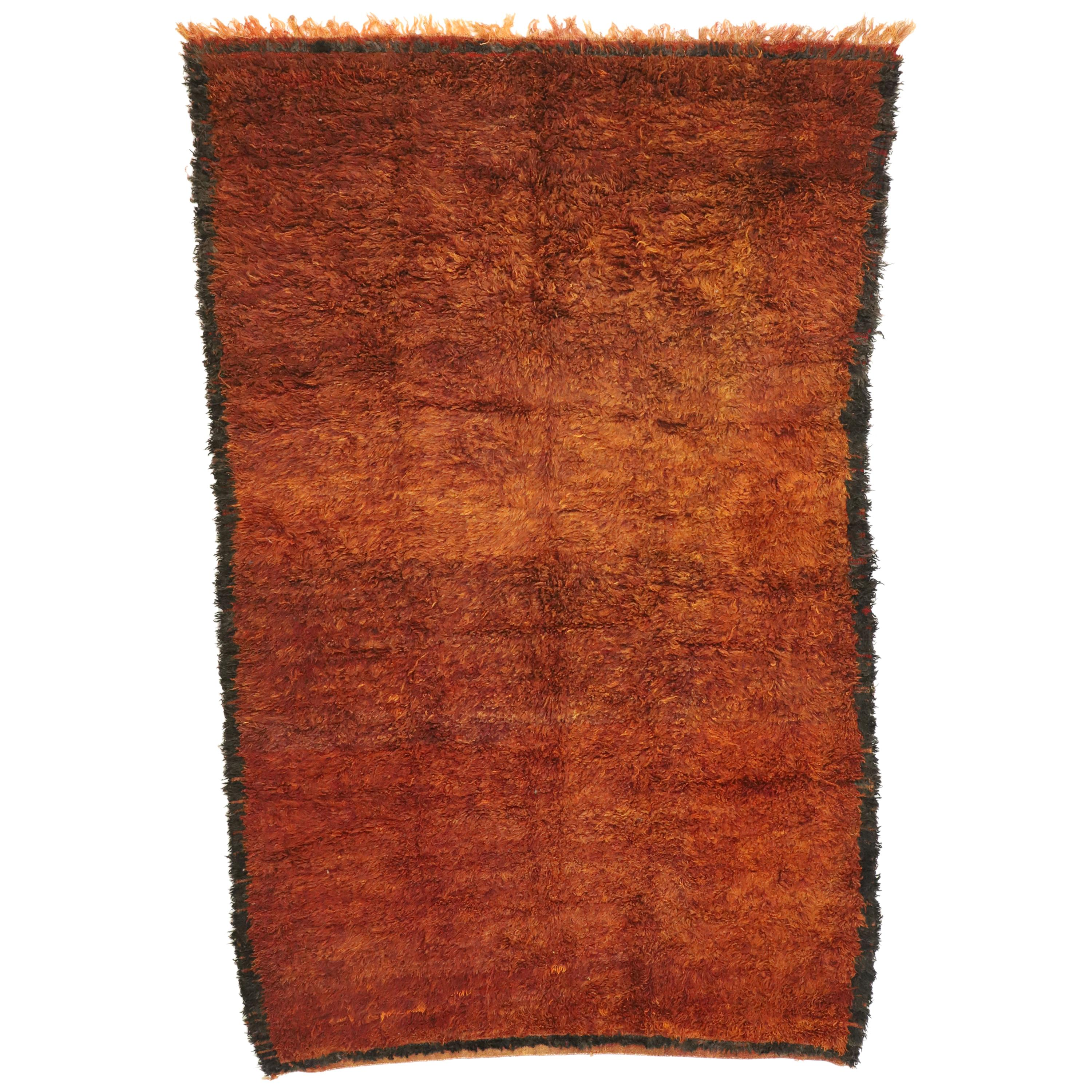 Vintage Berber Moroccan Rug with Warm, Mid-Century Modern Style
