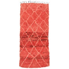 Vintage Berber Moroccan Runner with Tribal Style, Red Shag Hallway Runner