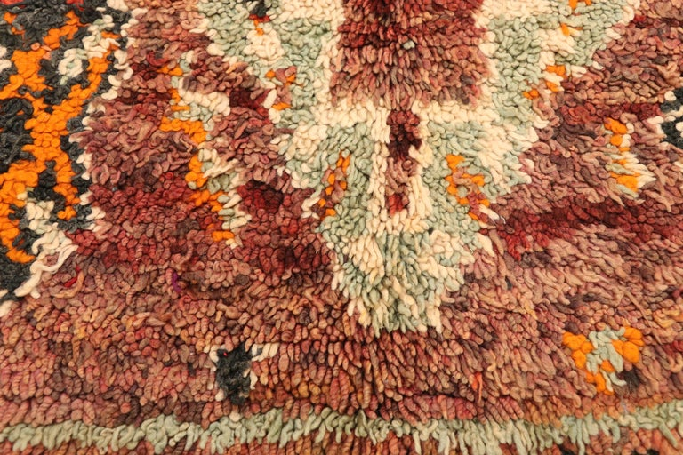 Hand-Knotted Vintage Berber Moroccan Zayane Rug with Mid-Century Modern Style For Sale