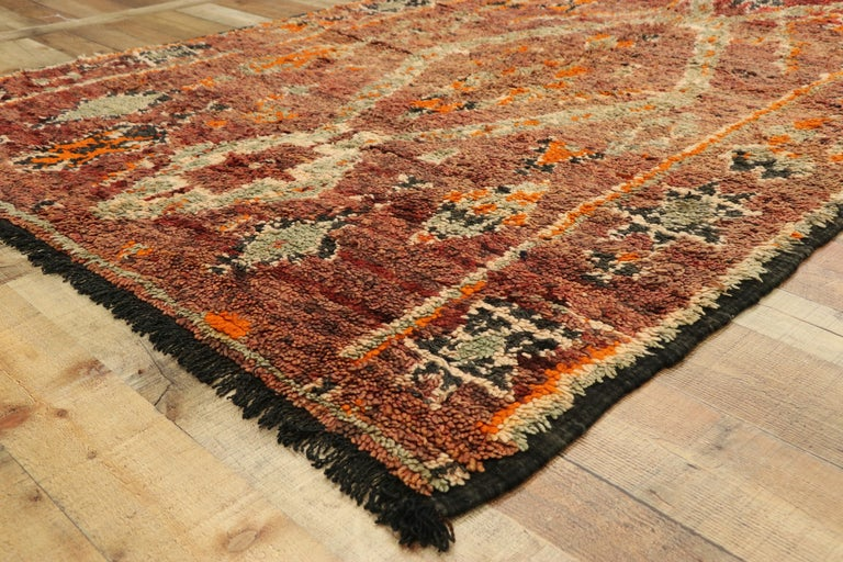 20th Century Vintage Berber Moroccan Zayane Rug with Mid-Century Modern Style For Sale