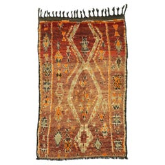 Vintage Berber Moroccan Zayane Rug with Mid-Century Modern Style