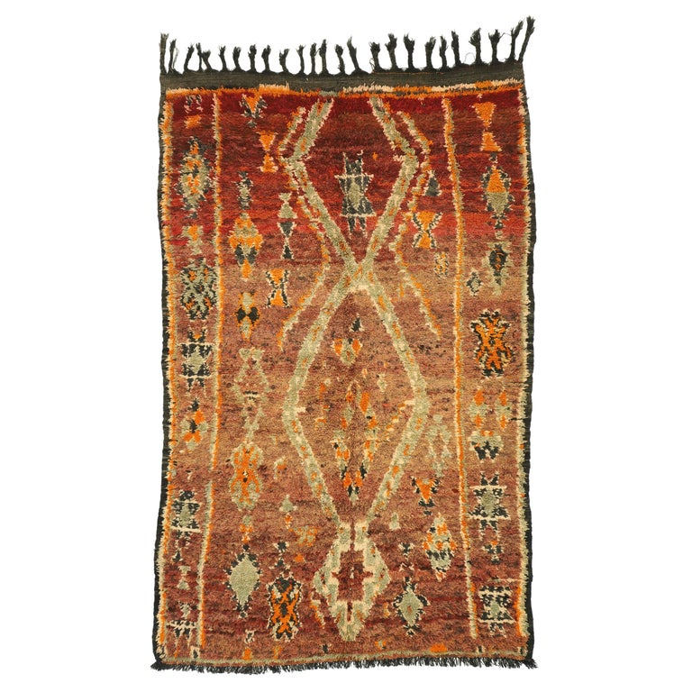 Vintage Berber Moroccan Zayane Rug with Mid-Century Modern Style For Sale