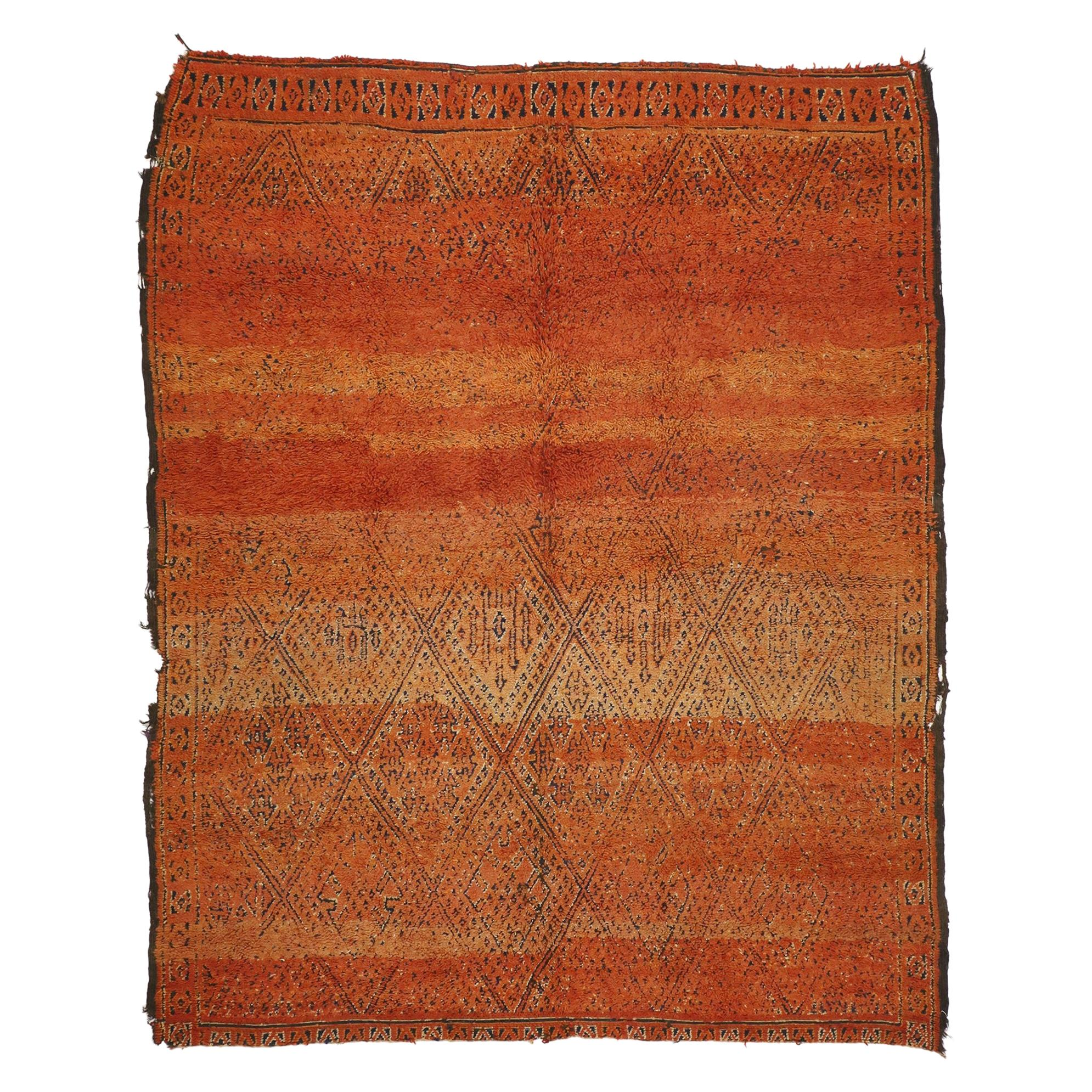 Vintage Berber Moroccan Zayane Rug with Rustic Modern and Northwestern Style