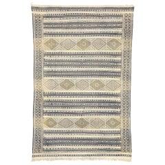 Vintage Berber Moroccan Zemmour Kilim Rug with Modern Tribal Style