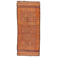 Vintage Berber Orange Moroccan Rug, Gallery Rug, Kilim Woven Ends