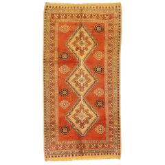 Vintage Berber Orange Moroccan Rug with Northwestern Mid-Century Modern Style
