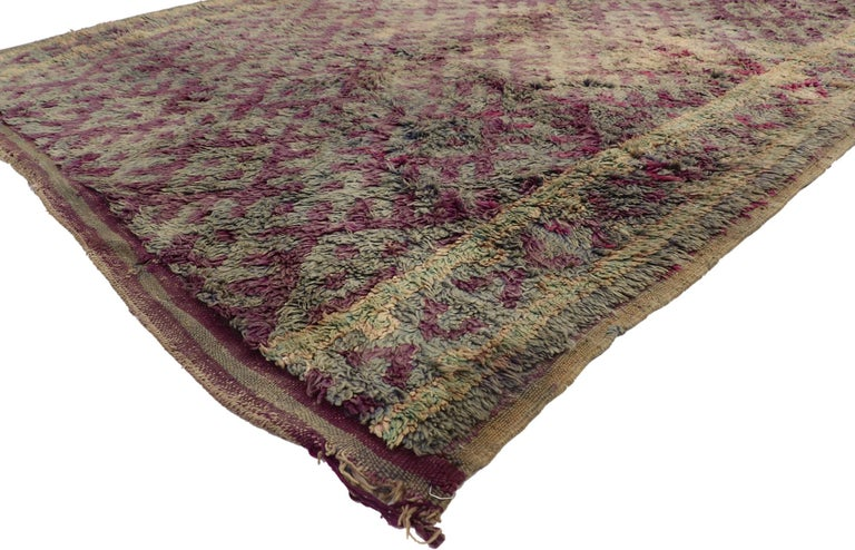 20938 Vintage Berber Purple Boujad Moroccan Beni Mrirt Rug with Boho Chic Style 06'06 x 10'08. Impressive design and charismatic colors provide a beautiful backdrop for this hand knotted wool vintage Boujad Moroccan Beni Mrirt rug. It features