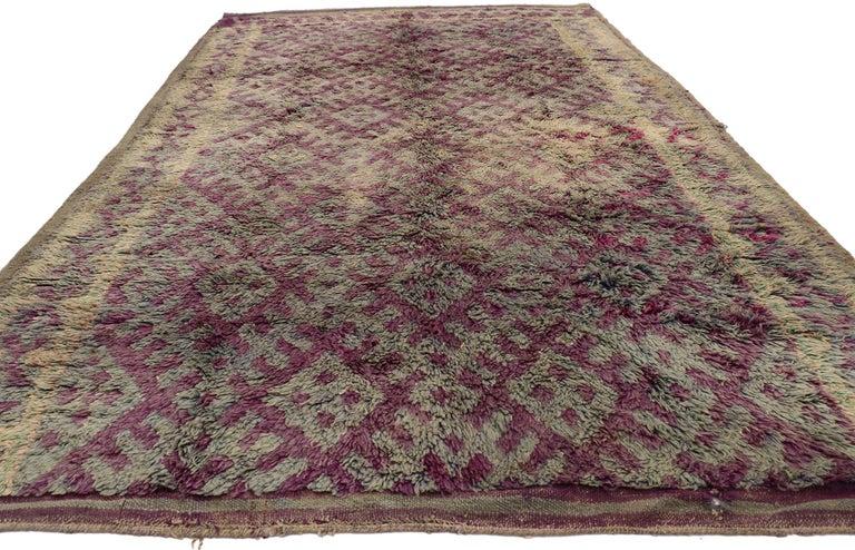 Bohemian Vintage Berber Purple Boujad Moroccan Beni Mrirt Rug with Boho Chic Style For Sale