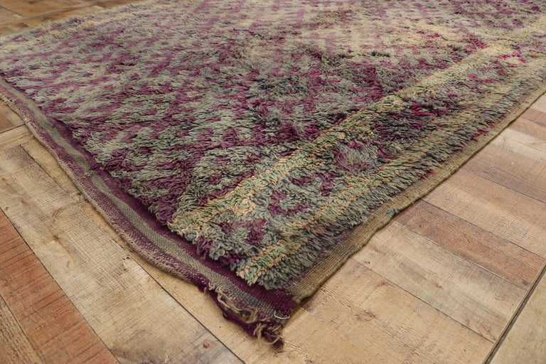 20th Century Vintage Berber Purple Boujad Moroccan Beni Mrirt Rug with Boho Chic Style For Sale
