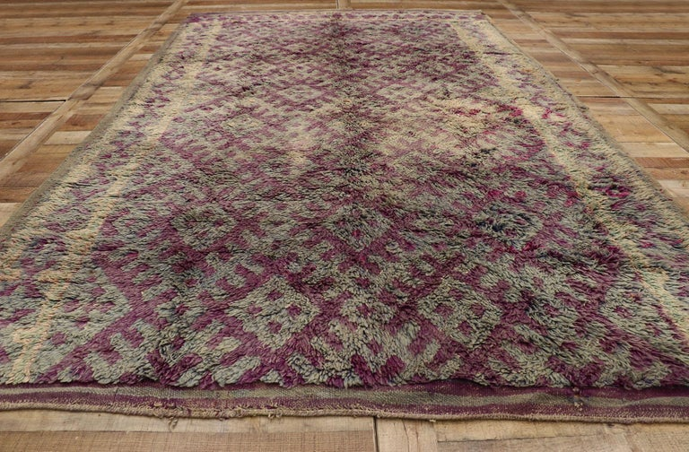 Wool Vintage Berber Purple Boujad Moroccan Beni Mrirt Rug with Boho Chic Style For Sale