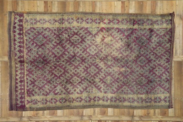 Vintage Berber Purple Boujad Moroccan Beni Mrirt Rug with Boho Chic Style For Sale 1