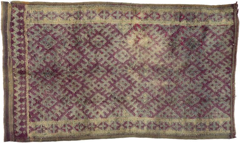 Vintage Berber Purple Boujad Moroccan Beni Mrirt Rug with Boho Chic Style For Sale 2