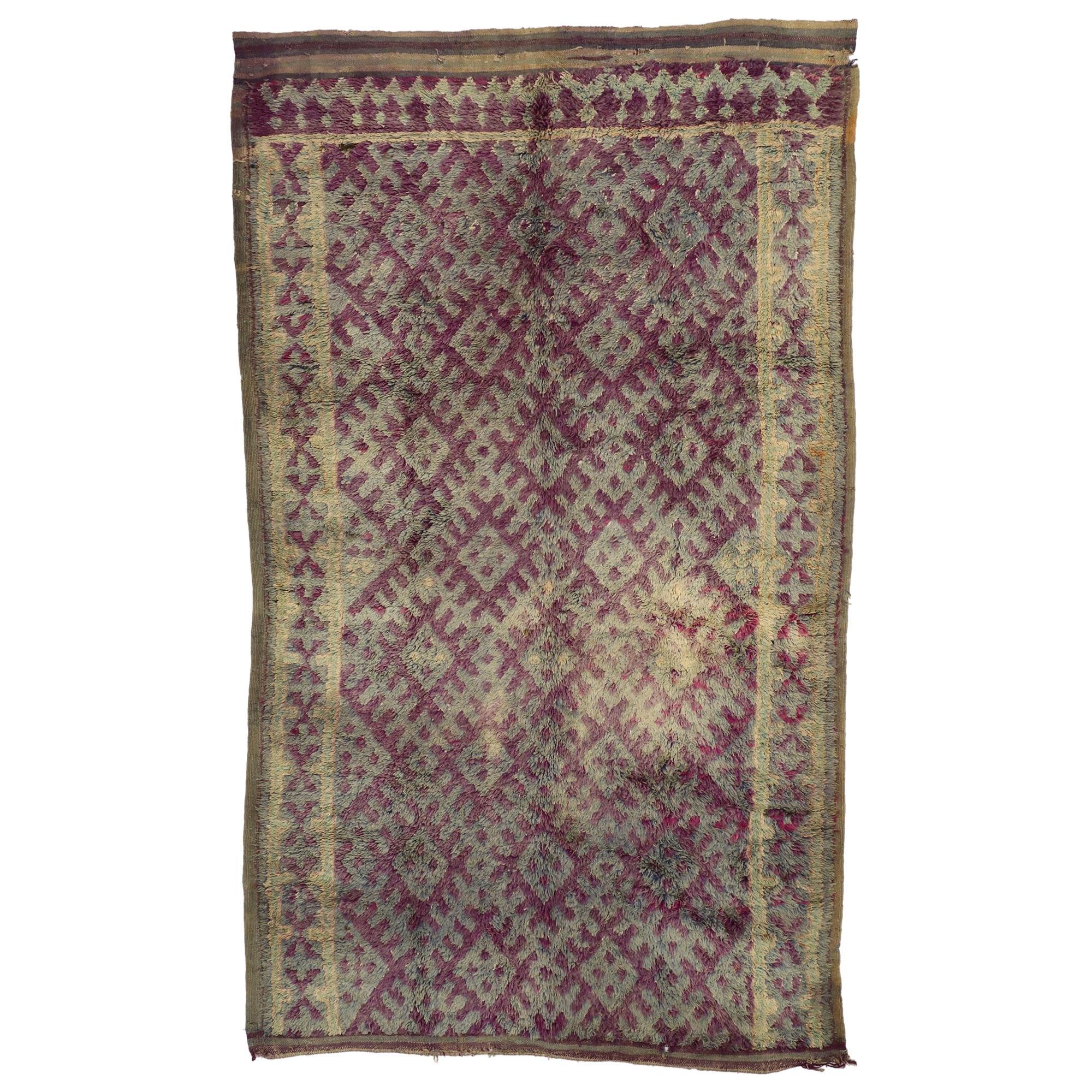 Vintage Berber Purple Boujad Moroccan Beni Mrirt Rug with Boho Chic Style