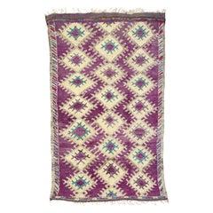 Vintage Berber Purple Moroccan Boujad Beni Mrirt Rug with Postmodern Style