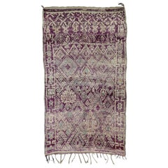 Vintage Berber Purple Moroccan Mrirt Rug with Tribal Style