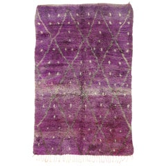 Vintage Berber Purple Moroccan Rug with Diamond Pattern and Boho Tribal Style