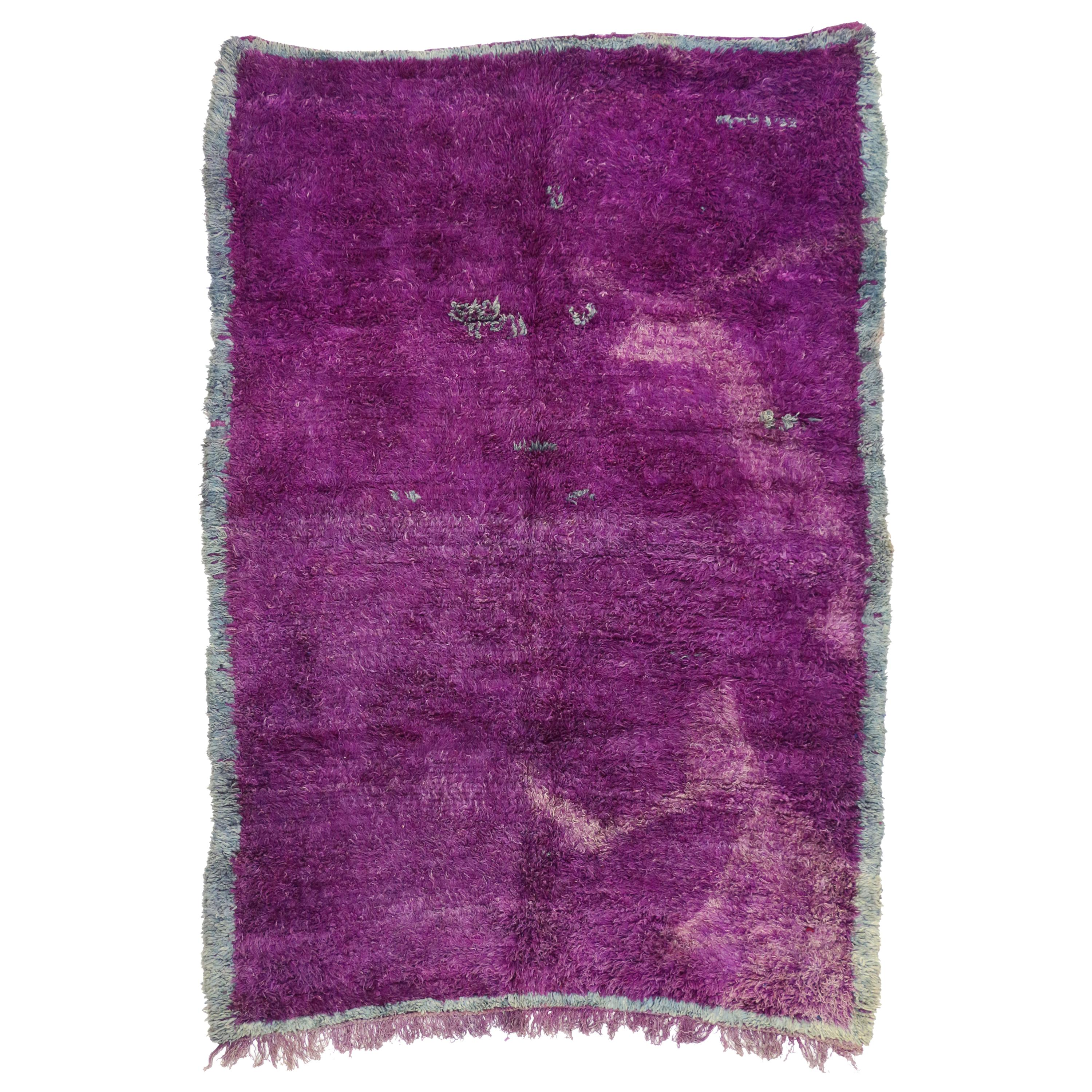 Vintage Berber Purple Moroccan Rug with Post-Modern Memphis Style