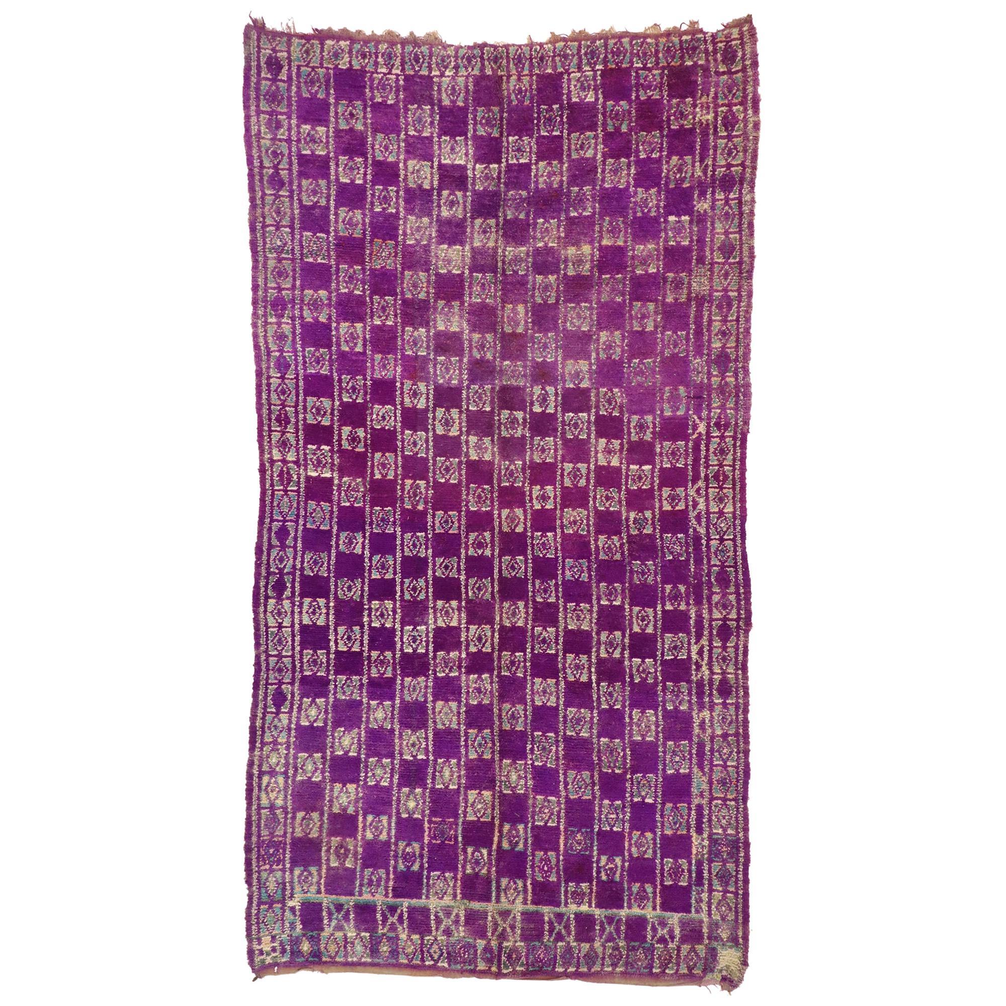 Vintage Berber Purple Moroccan Rug with Postmodern Boho Chic Style