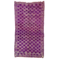Vintage Berber Purple Moroccan Rug with Postmodern Boho Chic Style
