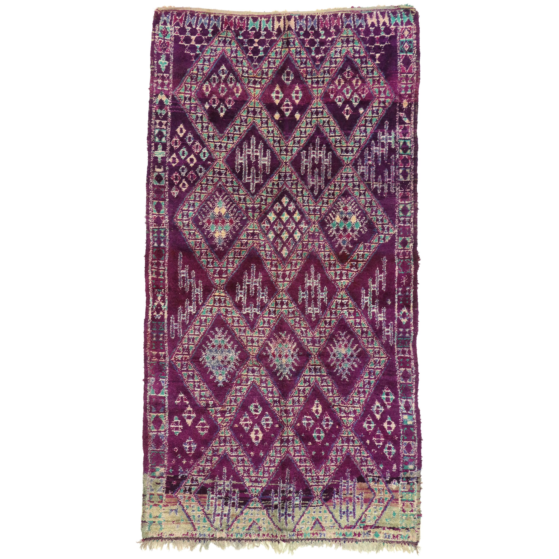 Vintage Berber Purple Moroccan Rug with Tribal Style, Purple Beni Mguild Carpet