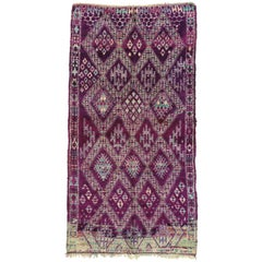 Vintage Berber Purple Moroccan Rug with Tribal Style, Purple Beni Mguild Carpet