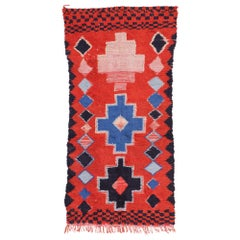 Vintage Berber Red Moroccan Rug with Bohemian Tribal Style
