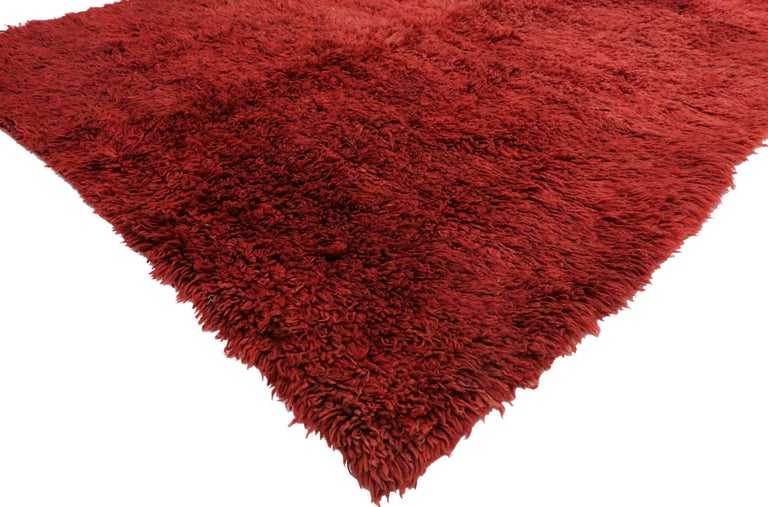 Expressionist Vintage Berber Red Moroccan Rug with Bold Abstract Expressionism Style For Sale