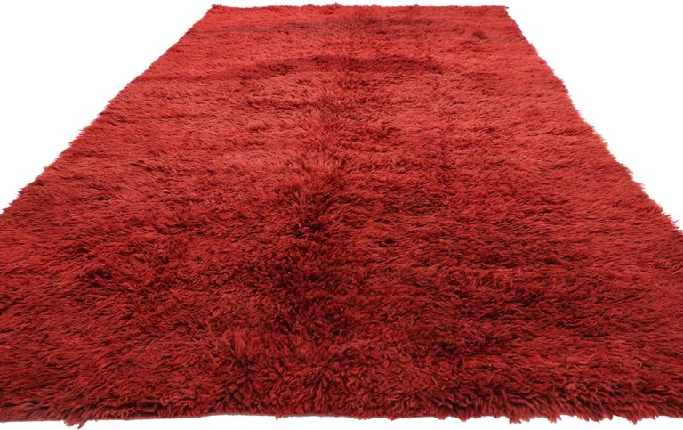 Hand-Knotted Vintage Berber Red Moroccan Rug with Bold Abstract Expressionism Style For Sale
