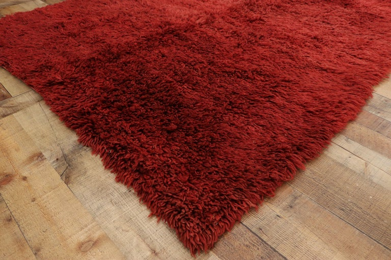 20th Century Vintage Berber Red Moroccan Rug with Bold Abstract Expressionism Style For Sale