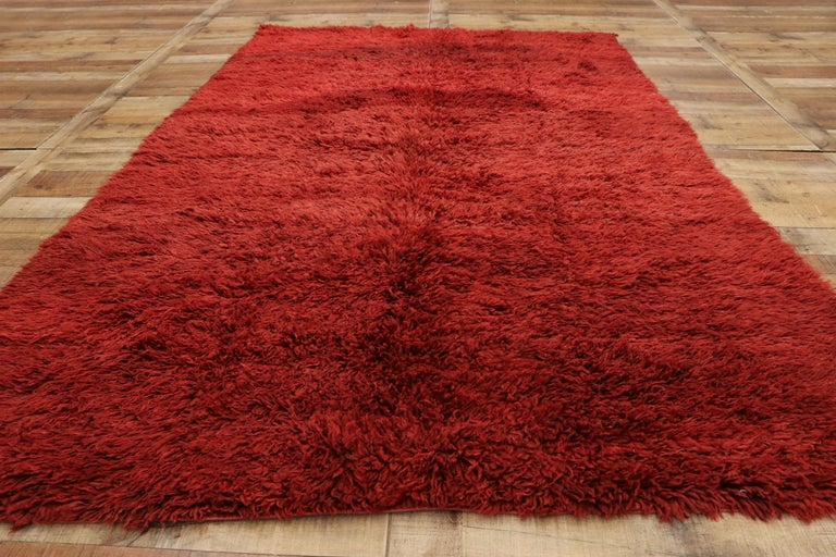Wool Vintage Berber Red Moroccan Rug with Bold Abstract Expressionism Style For Sale
