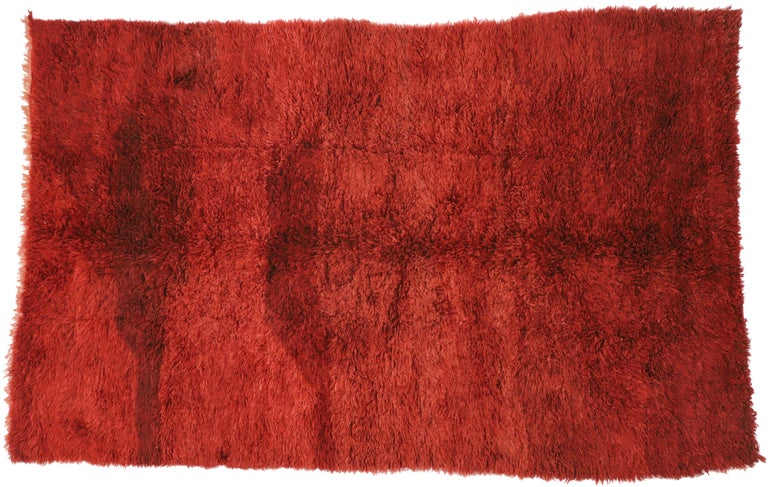 Vintage Berber Red Moroccan Rug with Bold Abstract Expressionism Style For Sale 2