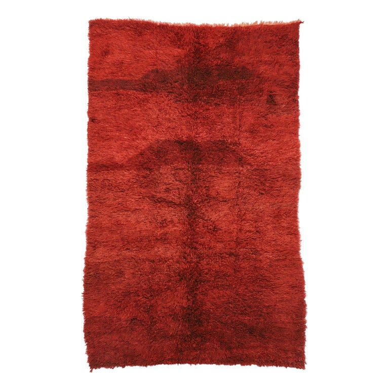 Vintage Berber Red Moroccan Rug with Bold Abstract Expressionism Style For Sale