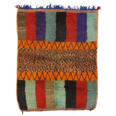 Vintage Berber Rehamna Moroccan Rug with Color Block Pattern and Cubist Style