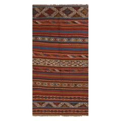 Bergama Geometric Brown and Red Wool Kilim Rug with Blue and White Accents