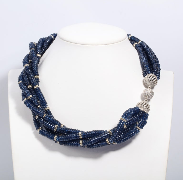 Art Deco Vintage Bergdorf Goodman Chic Faux Sapphire Crystal Rondel Twist Collar Necklace For Sale