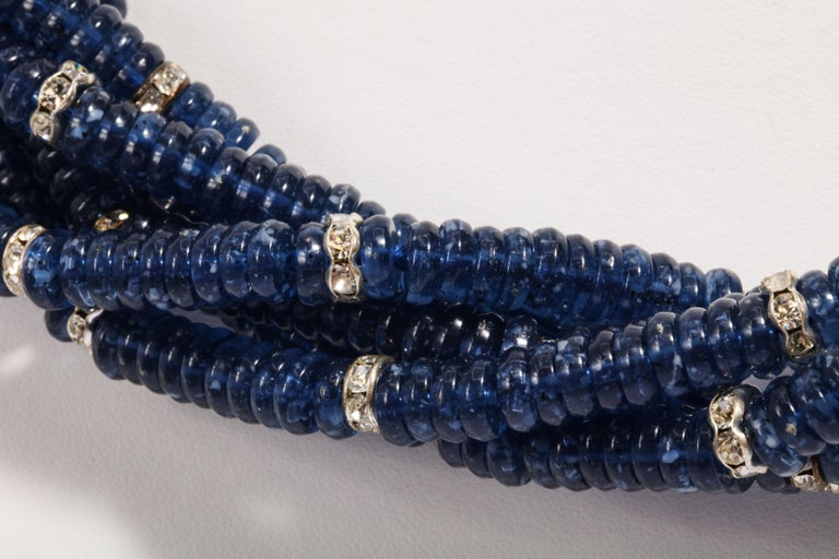 Women's Vintage Bergdorf Goodman Chic Faux Sapphire Crystal Rondel Twist Collar Necklace For Sale