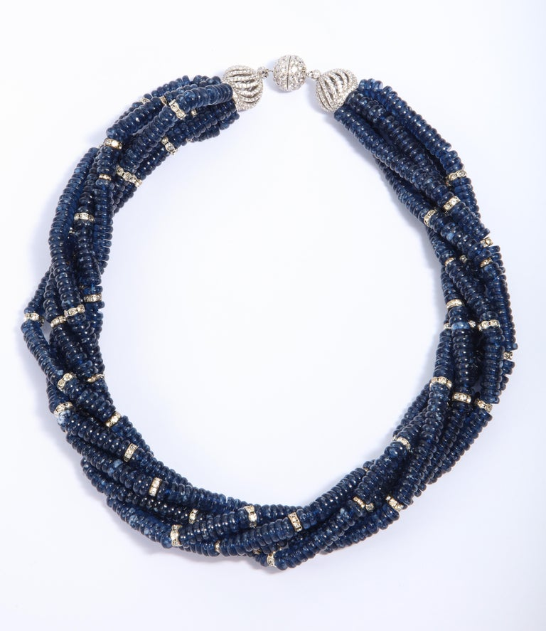 Vintage Bergdorf Goodman Chic Faux Sapphire Crystal Rondel Twist Collar Necklace For Sale 1