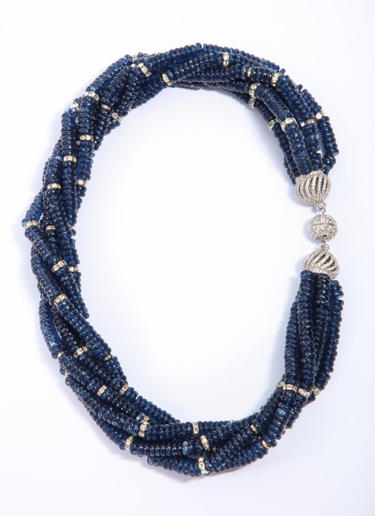 Vintage Bergdorf Goodman Chic Faux Sapphire Crystal Rondel Twist Collar Necklace For Sale 2